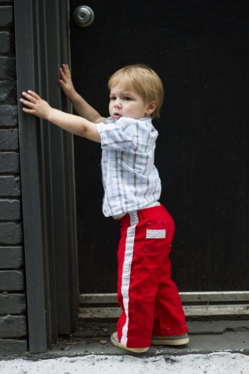 Parsley Pants- Red Tuxedo Stripe
