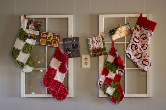 Some stockings I made for us a few years back using the rag quilting method...I made an extra that didn't quite turn out as planned and guess it worked out because E got a stocking too this year. Maybe next year, he'll get one that coordinates better with the other three.